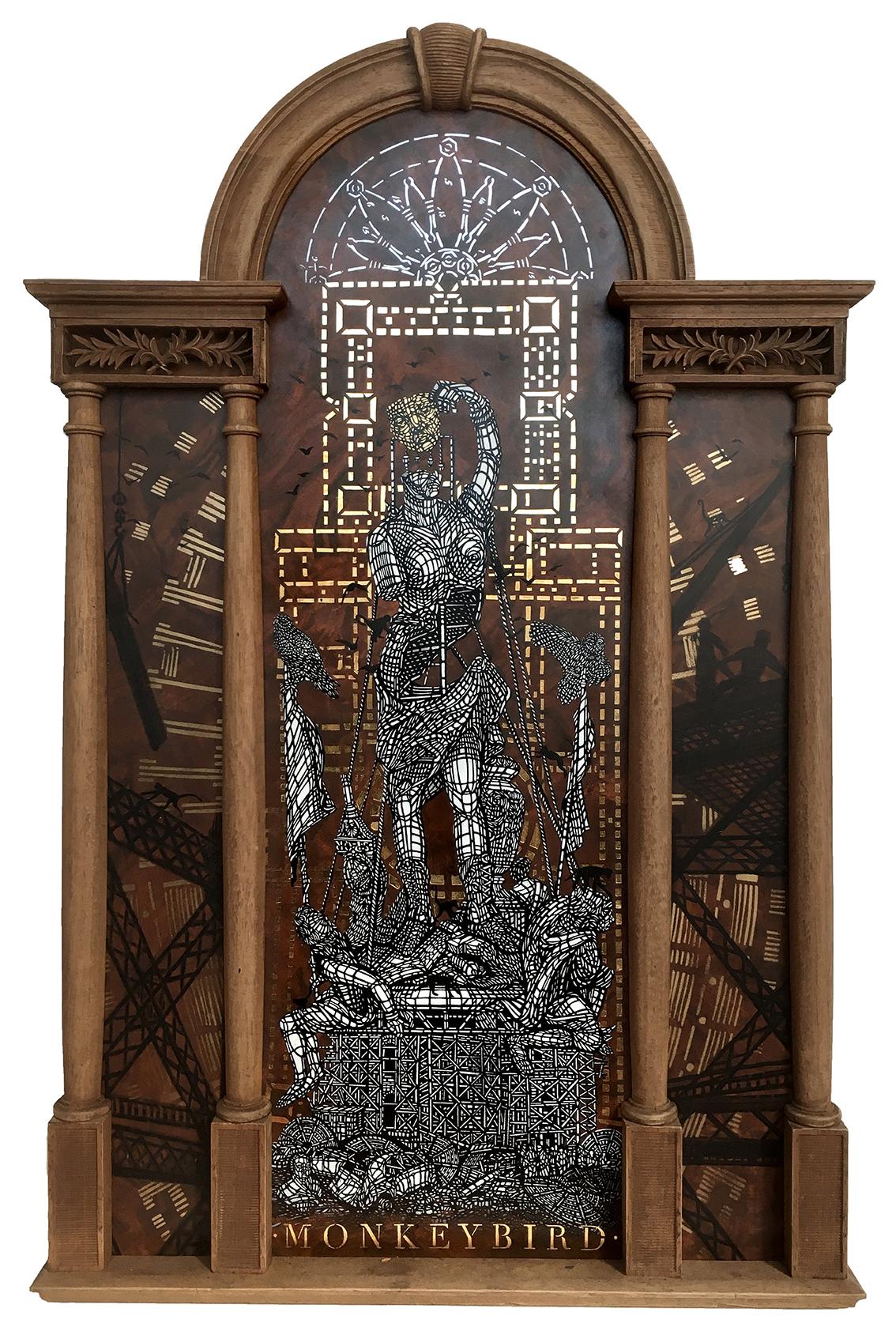 Monkeybird, Le Colosse aux pieds d'argile, 2018, pochoir et feuille d'or sur bois ancien et cadre ancien, 93 x 60 cm